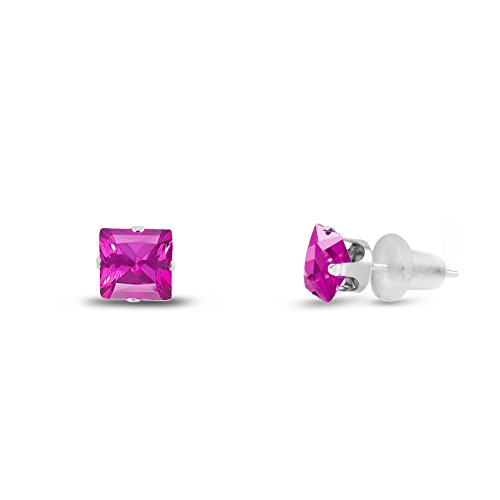 Princess Ring Pink Sapphire (Lab Created 3x3mm Square Princess Cut Pink Sapphire Solid 10K White Gold 4-Prong Set Baby Stud Earrings)