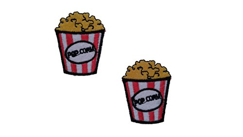 2 small pieces POPCORN Iron On Patch Fabric Applique Food Motif Children Decal 1.9 x 1.5 inches (4.8 x 3.8 cm) ()