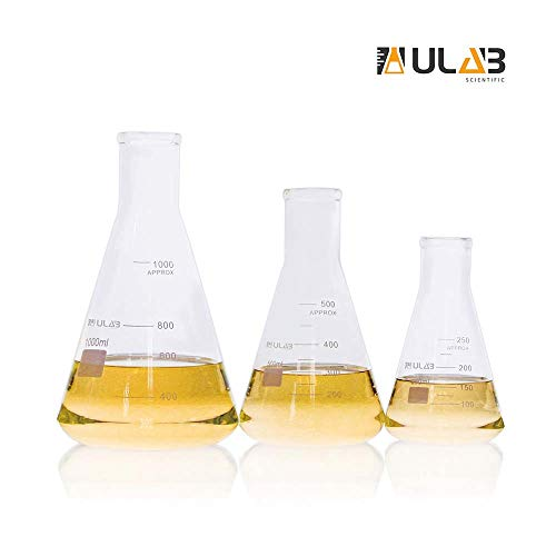 ULAB Scientific Narrow-Mouth Glass Erlenmeyer Flask Set, 3 Sizes 250ml 500ml 1000ml, 3.3 Borosilicate with Printed Graduation, UEF1022 (Narrow Flask 250ml Mouth Erlenmeyer)