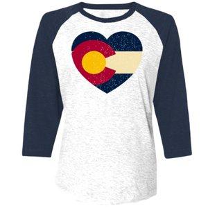 - Distressed Heart Colorado Flag Design On Bella + Canvas - Unisex Three-Quarter Sleeve Baseball T-Shirt - 3200 (X-Large)