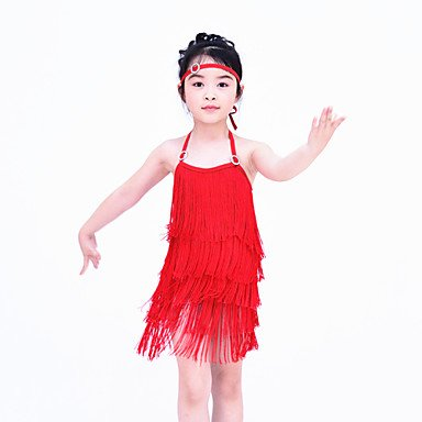 SA Foto Noche Ropa la de Accesorios Licra de Latina en la Danza Vestidos Cheerleader Jazz Desempeño como Vestidos Danza RED Moderna gxpqPRI
