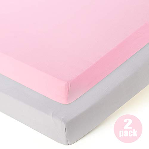 COSMOPLUS Fitted Playard Sheets - 2 Pack Mini Crib Sheet Set,Pack n Play Mattress Cover, Stretchy Ultra Soft,Pink/Grey