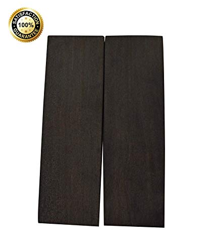 Konak Wood Products Knife Scales – All-Natural and Genuine Exotic Knife Scales for Knife Making – Measures 5 x 1½ x 3/8 inches – 2 Wood Knife Scales/Gun Grips/Craft Supplies (Gaboon Ebony) ()