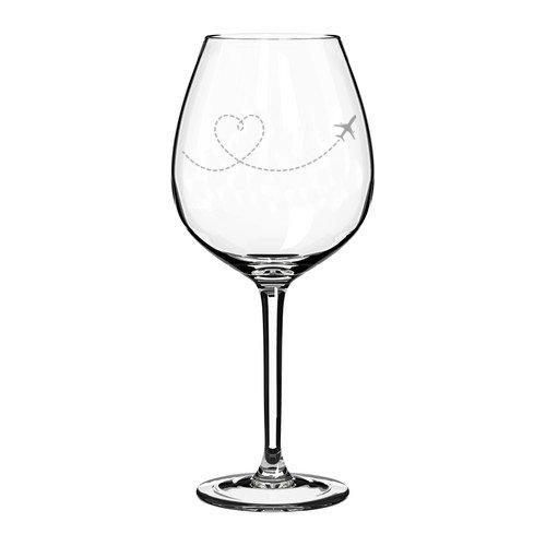 Wine Glass Goblet Heart Love Travel Airplane (20 oz Jumbo) ()
