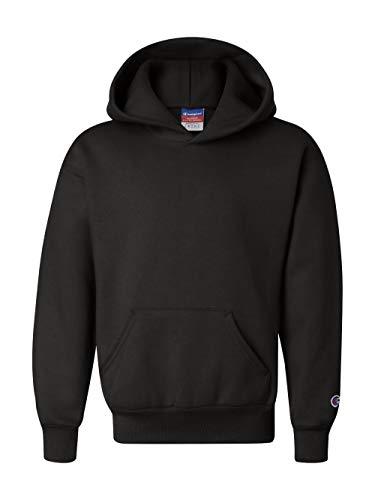Champion Boys Big Powerblend Eco Fleece Pullover Hoodie, Black, M
