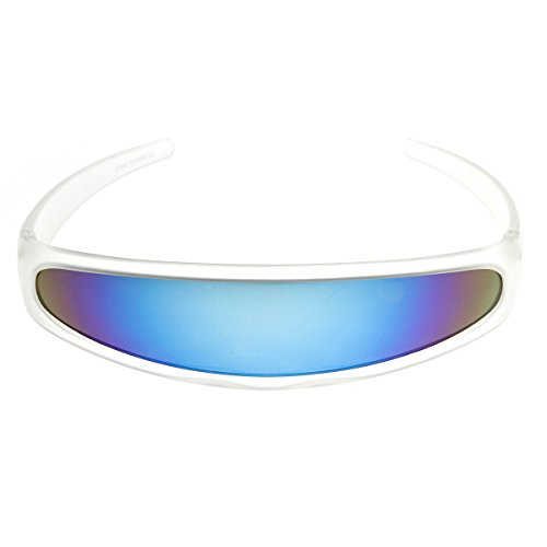 [zeroUV - Futuristic Narrow Cyclops Color Mirrored Lens Visor Sunglasses (Frost Ice)] (Cyclops Glasses)