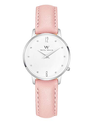 - Welly Merck Women Fighter Lisbon Swiss Quartz Movement Silver 26mm Watch 12mm Pink Italy Genuine Leather Interchangeable Strap Band 50M Water Resistant