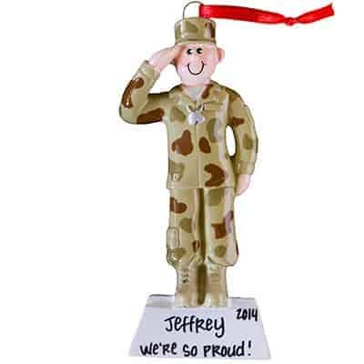 Army Guy Personalized Ornament - (Unique Christmas Tree Ornament - Classic Decor for A Holiday Party - Custom Decorations for Family Kids Baby Military Sports Or Pets) (Family Christmas Guy Ornament)