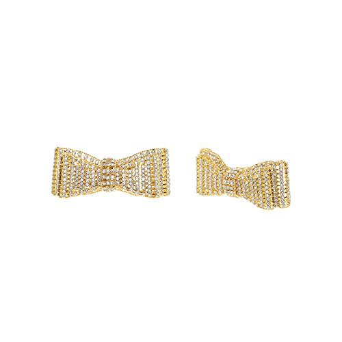 Steve Madden Women's Rhinestone Ribbon Design Yellow Gold-Tone Shoe Clip Set