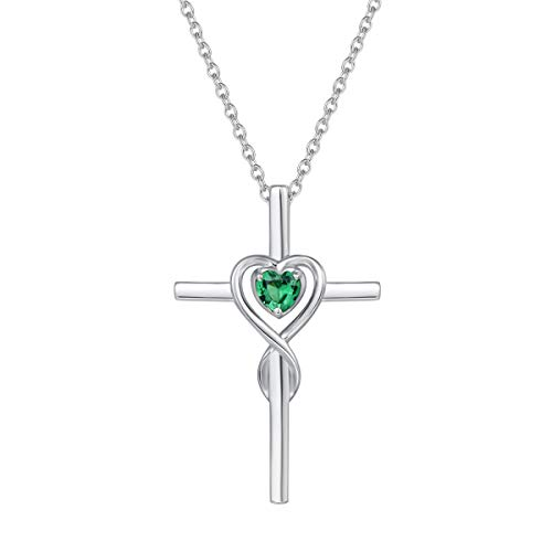 (FANCIME 925 Sterling Silver Created Green Emerald May Birthstone Heart Crucifix Cross Pendant Necklace for Women Girls with 18 Inch Chain)