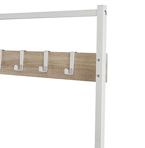 Homissue Modern Style 2 Shelf Hall Tree with Storage Bench, Light Oak Bench and Lower Shelf with White Steel Frame, Entryway Shoe Rack with 5 Hooks for Garments - Modern Style with Simple Design: Made of white steel frame and MDF, wood grain (Not solid wood), add this elegant hall tree to the entryway or hallway to complement a fashionable aesthetic. Versatile Hall Tree with Bench: It not only works great as a shoe bench in the entry, but also can be an extra storage shelf to keep several pairs of shoes or baskets for daily items and accessories in your living room Reliable Construction:Its sturdy metal frame allows the whole clothes rack more durable and stable to hold up to 230 lbs; shoe bench has a weight capacity of 180 lbs - hall-trees, entryway-furniture-decor, entryway-laundry-room - 31dRqUBBciL -