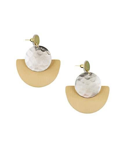 Handmade Art Deco Gold + Silver Disk Geometric Earrings for Women