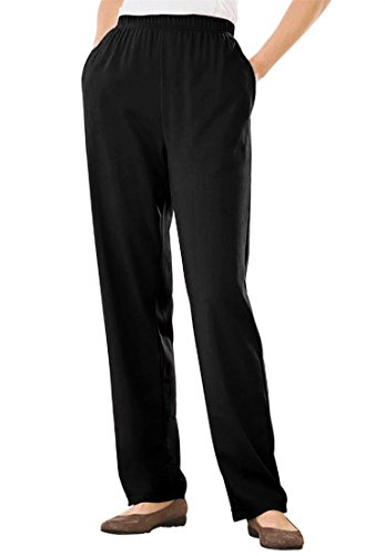 Women's Plus Size Petite Straight Leg 7-Day Knit Pants Black