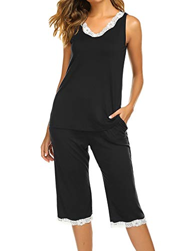 Hotouch Women's Sleeveless Tank Tops and Capri Pants Solid Pajama Sets Black M
