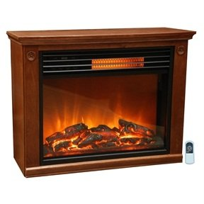 MyEasyShopping Infrared Electric Fireplace Space Heater 1500-watt Medium Oak Finish Electric Space Heater Fireplace Portable Infrared Stove Room Black Compact