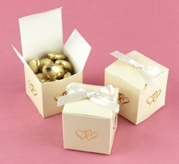 Ivory Linked at Heart Favor Boxes - 375346