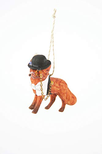 Cody Foster & Co Dapper Fox Glass Hanging Ornament