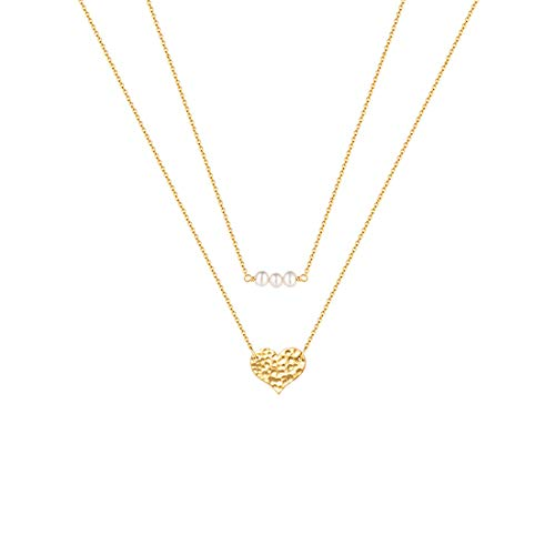 Mevecco Gold Layered Pearl Heart Necklace,Cute Tiny Beaded Freshwater Cultured Three Pearl Dainty Necklace 14K Gold Plated Delicate Heart Charm Handmade Minimalist Simple Chain Necklace for Women