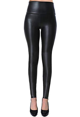 Womens Sexy Tight Fit Faux Leather High Waisted Leggings (Black, S)