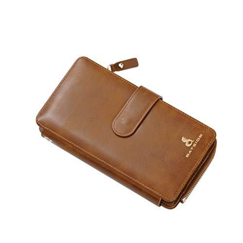 AHAYAKU Men Long Mobile Phone Bag Business Money Clip Zipper Clutch Bag Retro Wallet Khaki