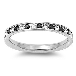 Stainless Steel Eternity Black And Clear Cz Wedding Band Ring 3mm 34