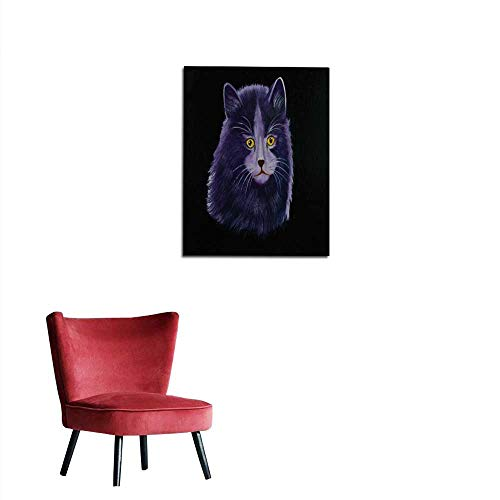 longbuyer Wall Sticker Decals Big Angora cat with Purple Fur and Yellow Eyes Mural 24
