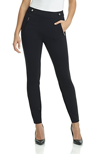 REKUCCI Women's Secret Figure Pull-On Knit Skinny Pant (4,Black) (Pull Knit Pants On)