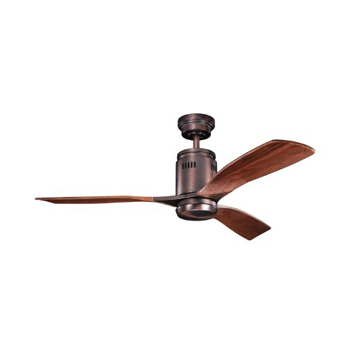 Kichler Lighting 300145OBB Ridley 52-Inch 1-Light Ceiling Fan, Oil Brushed Bronze Finish with Walnut Stain Wood Blades and Etched Cased Opal Light Kit - Walnut Stained Glass Floor Lamp