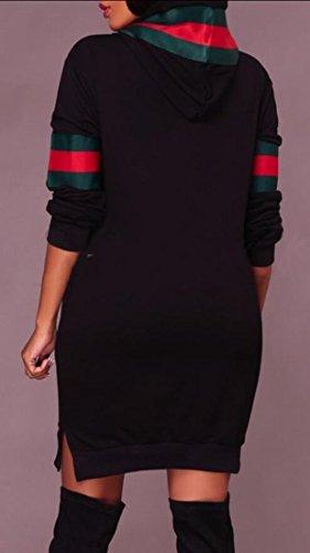 Hooded Long amp;S Women's Dress Black Sleeve Casual Print Sweatshirts amp;W M x0SIq7Uq