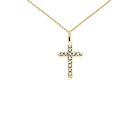 Beautiful Dainty Tiny 14k Yellow Gold Cubic Zirconia Cross Charm Pendant Necklace, 16
