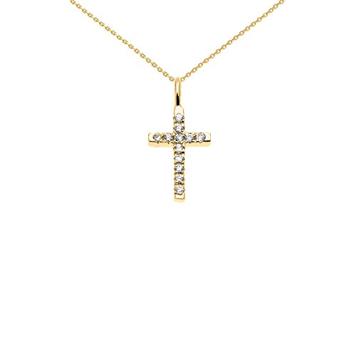 14k Yellow Gold Diamond Necklace (Beautiful Dainty Tiny 14k Yellow Gold Diamond Cross Charm Pendant Necklace, 16