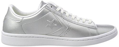 Pro Metallic Silver Argento Leather Sneaker Converse aqxUn7