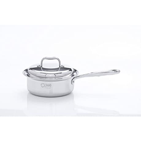 360 Cookware Stainless Steel Saucepan With Cover 2 Quart