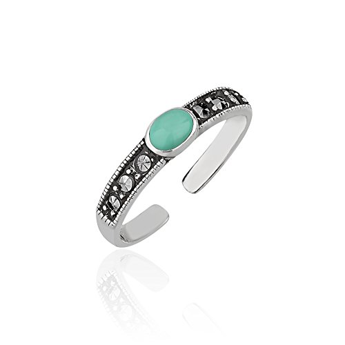 925 Sterling Silver Frames Round Reconstructed Blue-green Turquoise Marcasite Band Gemstone Toe Ring