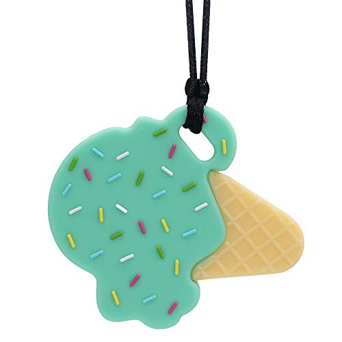 Sensory Chew Necklace for Boys and Girls - Oral Motor Aids Silicone Chewy Pendant Jewelry for Autism ADHD SPD Teething Biting with Special Needs Kids Adults - Ice Cream Chewies Toys