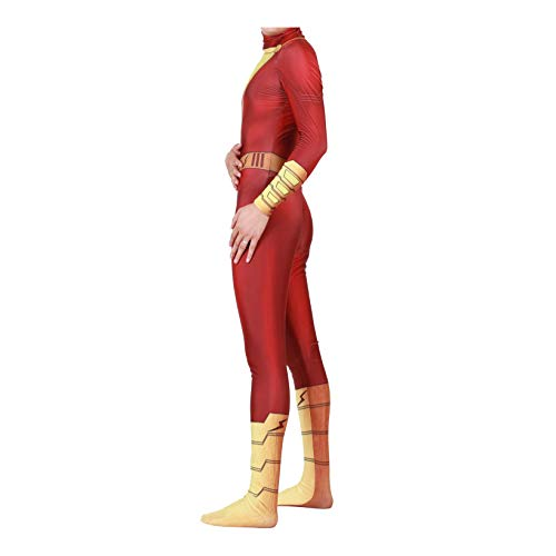 Shazam Captain William Billy Baston Cosplay Costumes Unisex Spandex Onesie 3D Zentai Suit Halloween Cosplay Bodysuit for Adult and Kids (Adults-M) Red