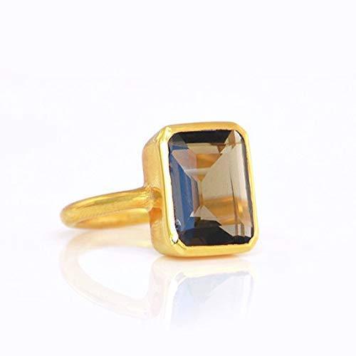 Large Smoky Quartz Ring, Statement Rectangular Ring, Vermeil Gold or Sterling Silver