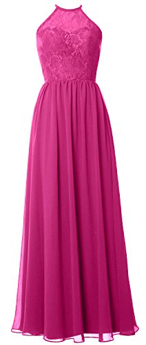 Formal Halter Lace Women Long Bridesmaid Dress Party Gown Fuchsia 2017 Wedding MACloth RqHZx