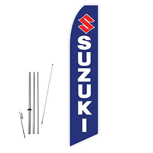 Suzuki (Blue) Super Novo Feather Flag - Complete with 15ft Pole Set and Ground Spike