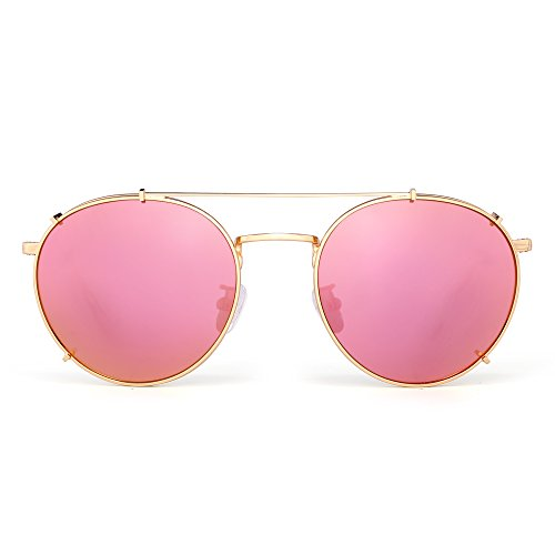 Retro Round Polarized Sunglasses Clip on Flat Mirror Eyeglasses Men Women (Gold / Mirror - Flat Mirror