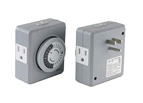 2 Pack Instapark TU19 24 Hour 15 Amp Heavy-duty Plug in Mechanical Timer with Dual 3 pin Grounded & Polarized Outlets