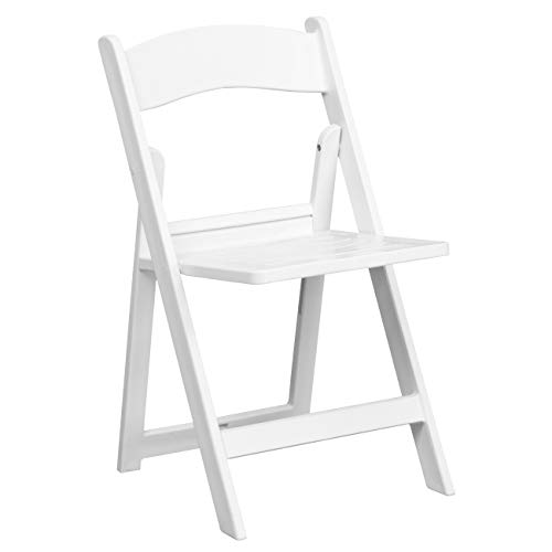 - HERCULES Series 1000 lb. Capacity White Resin Folding Chair with Slatted Seat