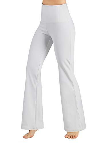 ODODOS Power Flex High Waist Boot-Cut Yoga Pants Tummy Control Workout Non See-Through Bootleg Yoga Pants,White,Small