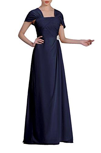 Formal Pleated Chiffon Bateau Sleeveless Sheath Long Mother of The Bride Groom Dress, Color Navy Blue,18W ()