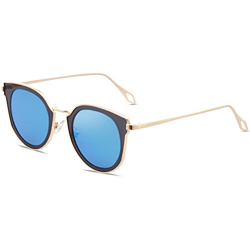 Bleu SJ1057 avec L'étui Rond Verres et Polarisés SOJOS Protection Vintage Soleil Lentille UV Or Cuir Lunettes de de Polarisé Double Miroités Cadre Unisexe ROFa7q