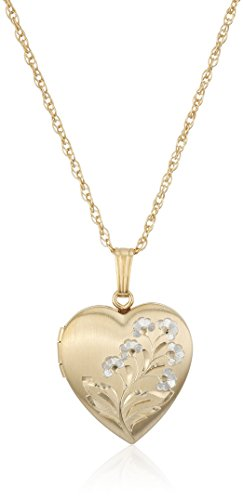 Hidden Clasp 14k Gold (14k Gold-Filled Two-Tone Hand-Engraved Heart Locket Necklace, 18