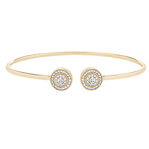(Brilliant Designers 10K Yellow Gold & 1/4 CTTW Diamond (IJ/I2I3) 2 Circle Open Wire Bangle 6.5