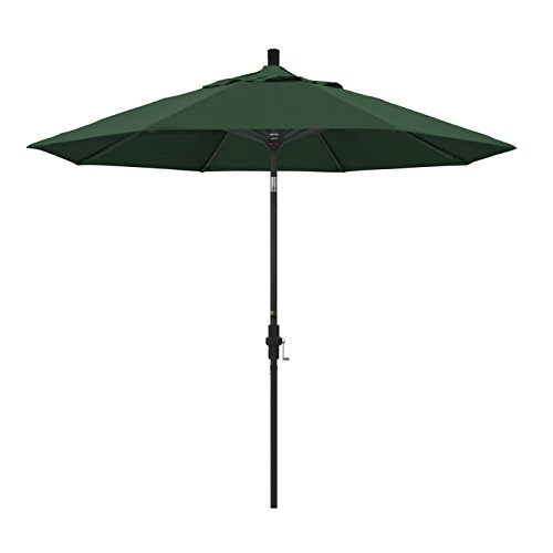 California Umbrella 9' Round Aluminum Market Umbrella, Crank Lift, Collar Tilt, Black Pole, Hunter Green Olefin