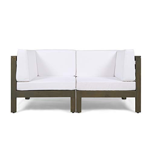 Great Deal Furniture Dawson Outdoor Sectional Loveseat Set – 2-Seater – Acacia Wood – Outdoor Cushions – Gray and White