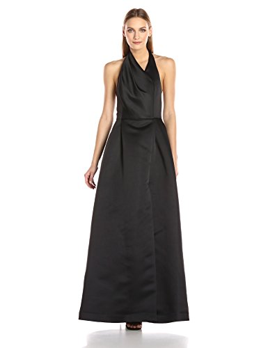 HALSTON-HERITAGE-Womens-Sleeveless-Draped-Halter-Neck-Satin-Faille-Gown